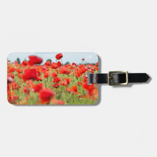 Field with red papavers luggage tag
