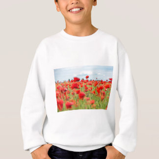 Field with red papavers sweatshirt