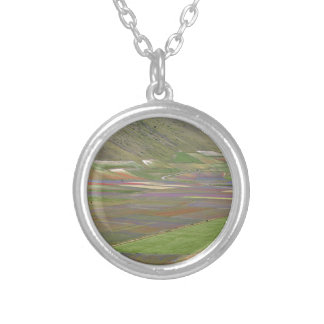 Fields in the Sibellini Mountains in Italy Silver Plated Necklace