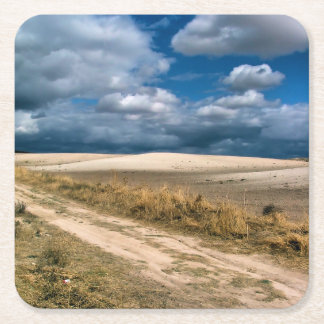 Fields of culture and clouds, Madrid Square Paper Coaster