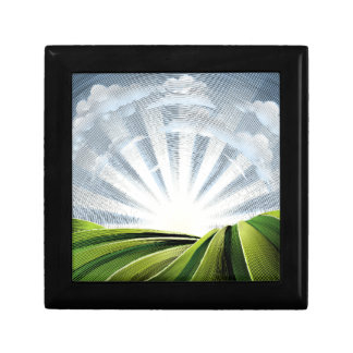 Fields Rolling Hills and Sun Engraved Etching Gift Box