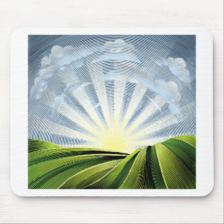 Fields Rolling Hills and Sun Engraved Etching Mouse Pad