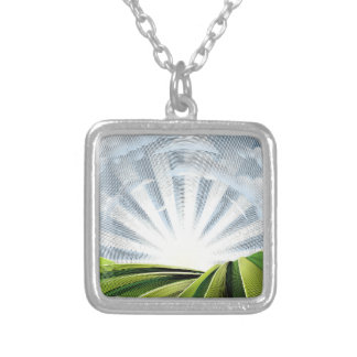 Fields Rolling Hills and Sun Engraved Etching Silver Plated Necklace