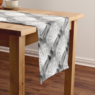 Fields Rolling Hills and Sun Woodcut Short Table Runner
