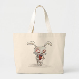 Fiendish Bunny with Anatomical Heart Large Tote Bag