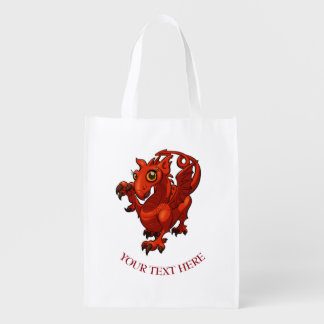 Fierce Baby Red Dragon Cartoon With Text Grocery Bag