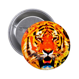 Fierce Bright Orange Siberian Tiger 2 Inch Round Button