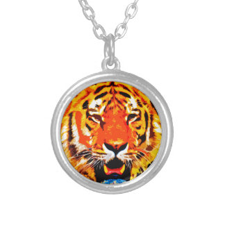 Fierce Bright Orange Siberian Tiger Silver Plated Necklace