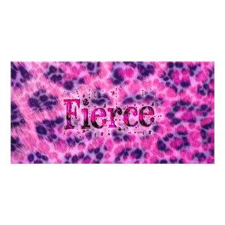 Fierce Cheetah Print Personalized Photo Card