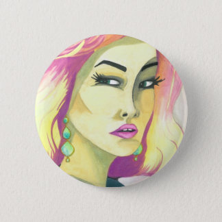 """""""Fierce"""" Crystal Cross Watercolors 2 Inch Round Button"""