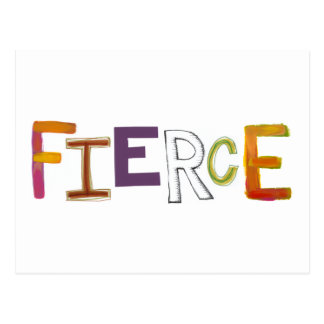 Fierce fun colorful art words strong bold brave postcard
