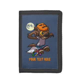 Fierce Little Werewolf Trick Or Treating Cartoon Tri-fold Wallet
