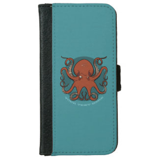 Fierce Red Octopus Tentacles Cartoon With Text iPhone 6 Wallet Case