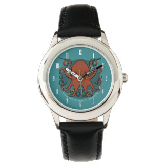 Fierce Red Octopus Tentacles Cartoon With Text Watch