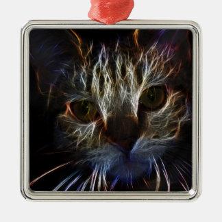Fierce robotic cat metal ornament