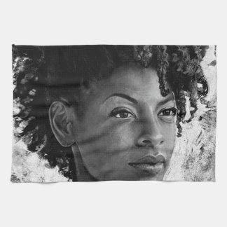 Fierce - Textured Portrait of a Black Woman Hand Towels