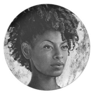 Fierce - Textured Portrait of a Black Woman Plate