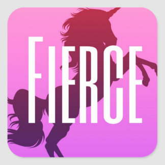 Fierce unicorn square sticker