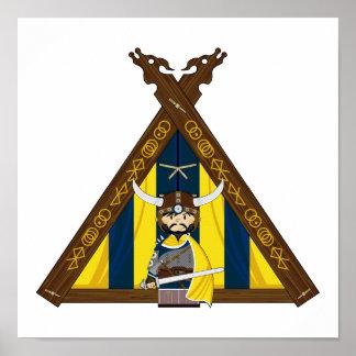 Fierce Vikings and Tent Framed Print