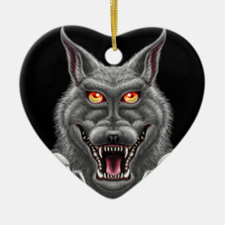 Fierce Werewolf Ceramic Heart Ornament