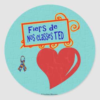 Fiers de nos classes TED - autocollants Classic Round Sticker