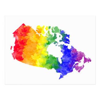 Fierté d'arc-en-ciel de feuille d'érable du Canada Cartes Postales