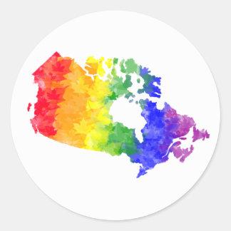 Fierté d'arc-en-ciel de feuille d'érable du Canada Sticker Rond