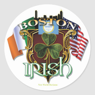 Fierté d'Irlandais de Boston Sticker Rond