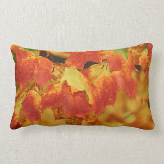 Fiery Autumn Maple Leaves Flaming Red Leaf Lumbar Pillow
