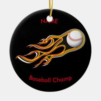 Fiery BASEBALL Comet Personalize Round Ceramic Ornament