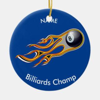 Fiery BILLIARD BALL Comet Personalized Round Ceramic Ornament