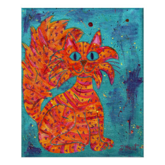 Fiery Cat on Turquoise Poster