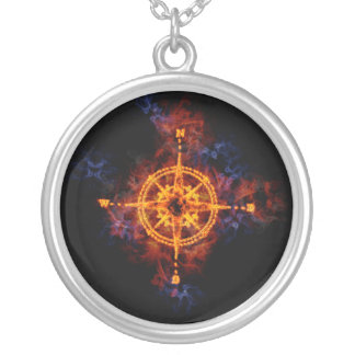 Fiery Compass Silver Plated Necklace