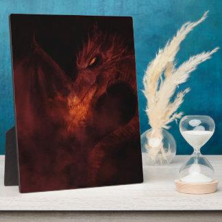fiery dragon fantasy art photo plaque