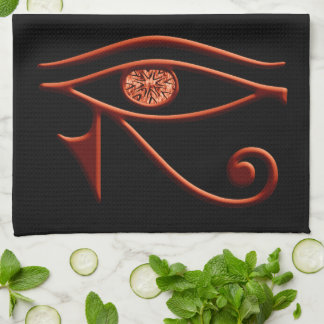Fiery Eye Of Horus Kitchen Towel