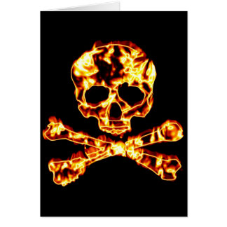 Fiery Flaming Skull and Crossbones Card