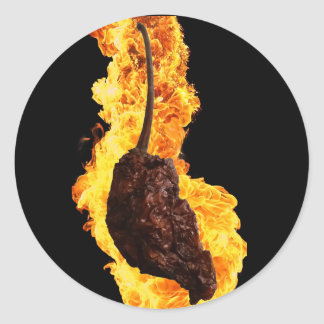 Fiery Ghost Pepper Classic Round Sticker
