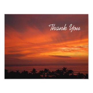 "Fiery Hawaiian Sunset Thank You Card 4.25"" X 5.5"" Invitation Card"