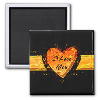 Fiery Heart for your Burning Love Square Magnet