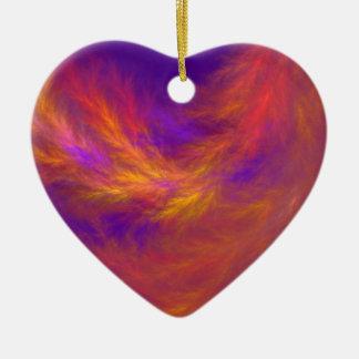 Fiery Leaves Fractal Ceramic Heart Ornament