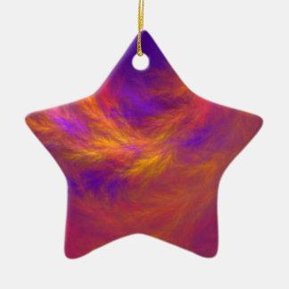 Fiery Leaves Fractal Ceramic Star Ornament