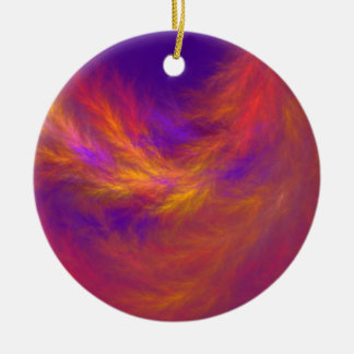 Fiery Leaves Fractal Round Ceramic Ornament