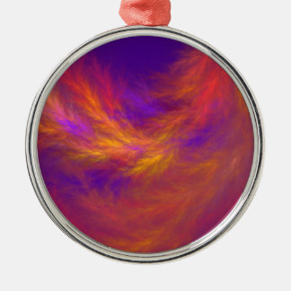 Fiery Leaves Fractal Silver-Colored Round Ornament