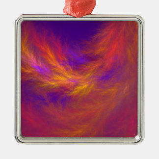 Fiery Leaves Fractal Silver-Colored Square Ornament