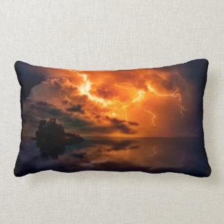 Fiery Lightning pillow, Lightning over lake, storm Lumbar Pillow