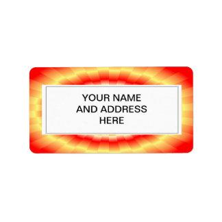 "Fiery muticolored ""bulls-eye"" background personalized address label"