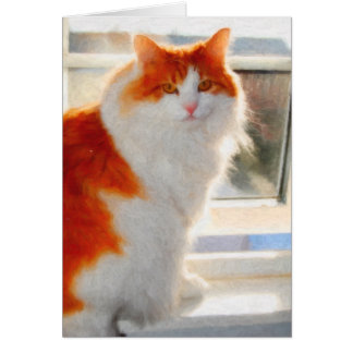 Fiery Norwegian Forest Cat Note Card