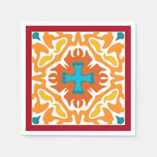 Fiery Orange Abstract with Blue Accents Disposable Napkins