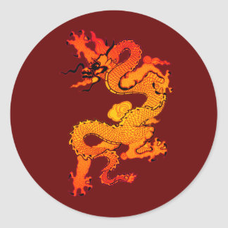 Fiery Orange and Red Dragon Art Round Stickers