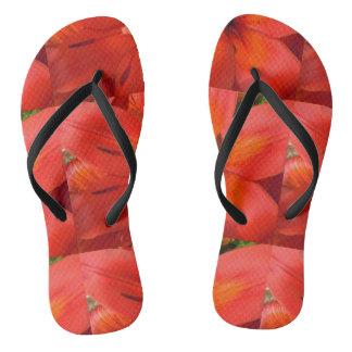 Fiery Orange & Red Lily II Flip Flops